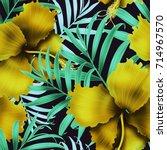 seamless tropical flower  plant ...   Shutterstock . vector #714967570