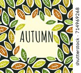 contrast autumn frame with... | Shutterstock .eps vector #714969268