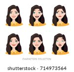 set of emotions for business... | Shutterstock .eps vector #714973564