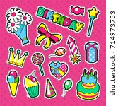 happy birthday party decoration ... | Shutterstock .eps vector #714973753