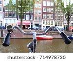 bike rudder close up near the... | Shutterstock . vector #714978730
