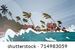 tornado incoming from sea... | Shutterstock .eps vector #714983059