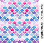 mermaid scales. watercolor fish ... | Shutterstock . vector #714983590