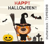 happy halloween  greeting card... | Shutterstock .eps vector #714983848