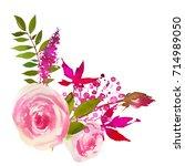 pink green watercolor floral...   Shutterstock . vector #714989050