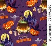 happy halloween illustration... | Shutterstock .eps vector #714991090