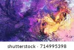 lilac clouds. bright artistic... | Shutterstock . vector #714995398