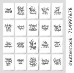 set of 20 black and white hand... | Shutterstock . vector #714997678