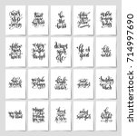 set of 20 black and white hand... | Shutterstock . vector #714997690