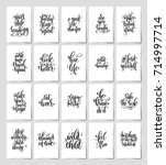 set of 20 black and white hand... | Shutterstock . vector #714997714