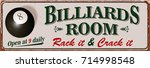 vintage billiards metal sign. | Shutterstock .eps vector #714998548