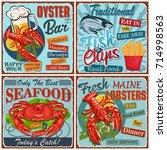 seafood vintage metal sign... | Shutterstock .eps vector #714998563
