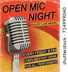 open mic night vintage poster. | Shutterstock .eps vector #714999040