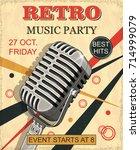 retro music party vintage... | Shutterstock .eps vector #714999079