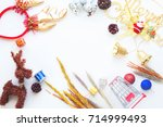 christmas background with... | Shutterstock . vector #714999493