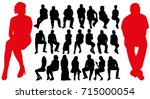 silhouette of seated men and... | Shutterstock .eps vector #715000054