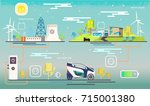 vector.electric station ... | Shutterstock .eps vector #715001380