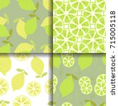 set of 4 seamless patterns with ... | Shutterstock .eps vector #715005118