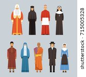 religion people set  men and... | Shutterstock .eps vector #715005328