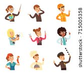 young men and women of... | Shutterstock .eps vector #715005358