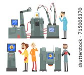 scientists invention in robotic ... | Shutterstock .eps vector #715005370