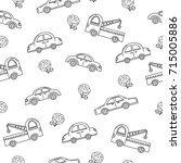seamless pattern of car. line... | Shutterstock .eps vector #715005886