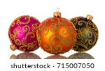 three multi colored balls with... | Shutterstock . vector #715007050