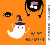 happy halloween card. flying... | Shutterstock .eps vector #715008049