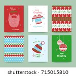 merry christmas greeting card... | Shutterstock .eps vector #715015810