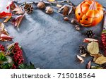 card for holiday halloween top... | Shutterstock . vector #715018564