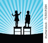 child happy silhouette on chair ... | Shutterstock .eps vector #715019284