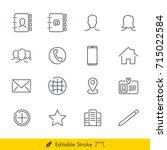 contact icons vectors set   in... | Shutterstock .eps vector #715022584