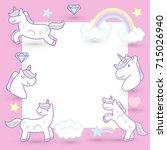 cute cartoon unicorns banner ... | Shutterstock .eps vector #715026940