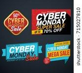 cyber monday sale vector... | Shutterstock .eps vector #715027810