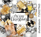 merry christmas card with black ... | Shutterstock . vector #715027963