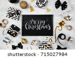 merry christmas card with black ...   Shutterstock . vector #715027984