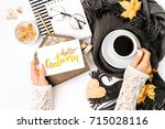 woman holding card with word... | Shutterstock . vector #715028116