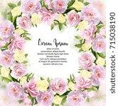 watercolor pink peonies and...   Shutterstock . vector #715038190