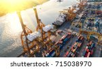 container container ship in... | Shutterstock . vector #715038970