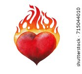 watercolor flaming heart... | Shutterstock . vector #715044010