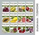 set of 12 exotic fruits posters ... | Shutterstock .eps vector #715045540
