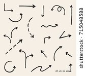 vector hand drawn simple arrows ... | Shutterstock .eps vector #715048588