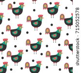 seamless pattern with cute... | Shutterstock .eps vector #715052578