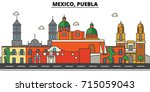 mexico  puebla. city skyline ... | Shutterstock .eps vector #715059043
