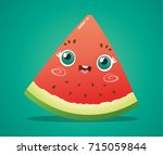 cute watermelon slice on green... | Shutterstock .eps vector #715059844