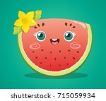 cute watermelon slice with... | Shutterstock .eps vector #715059934
