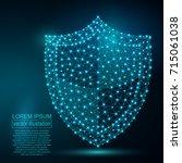 polygonal security shield... | Shutterstock .eps vector #715061038