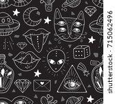 seamless pattern with weird... | Shutterstock .eps vector #715062496
