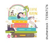 fairytale concept with book... | Shutterstock .eps vector #715067176
