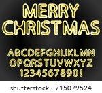 vector rounded font alphabet... | Shutterstock .eps vector #715079524